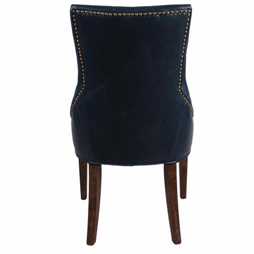 Celestia Bonded Leather Tufted Dining Chair Drift Wood Legs, Vintage Blue