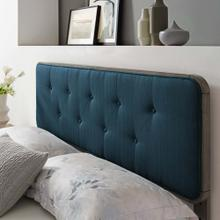 Collins Tufted King Fabric and Wood Headboard in Gray Azure