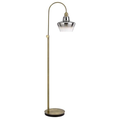 40W Duxbury metal arc floor lamp with electoral plated smoked glass shade