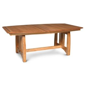 Aspen Trestle Table with Inlay, Solid Top