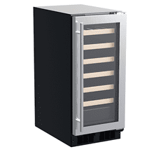 15-In Built-In High-Efficiency Single Zone Wine Refrigerator with Door Style - Stainless Steel Frame Glass