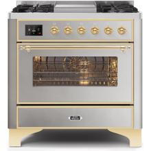Majestic II 36 Inch Dual Fuel Natural Gas Freestanding Range in Stainless Steel with Brass Trim