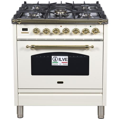 30 Inch Antique White Dual Fuel Liquid Propane Freestanding Range