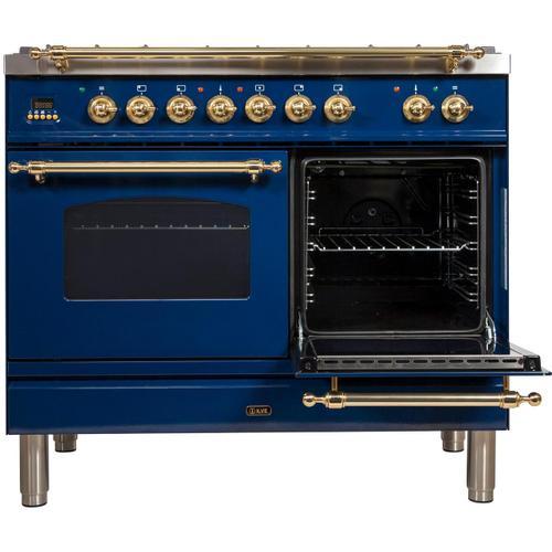 Nostalgie 40 Inch Dual Fuel Liquid Propane Freestanding Range in Blue with Brass Trim