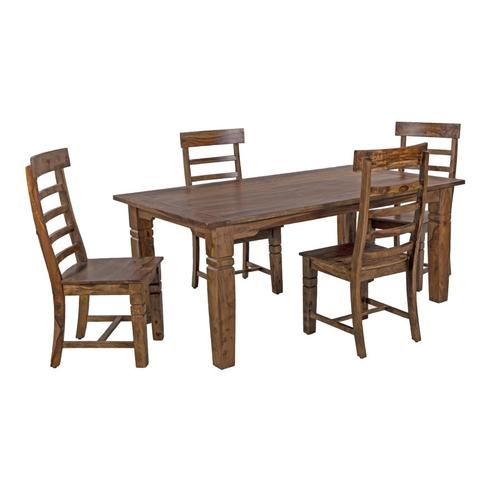 Porter International Designs - Tahoe Harvest Dining Table With Extensions, Chairs & Bench, SBA-9039H