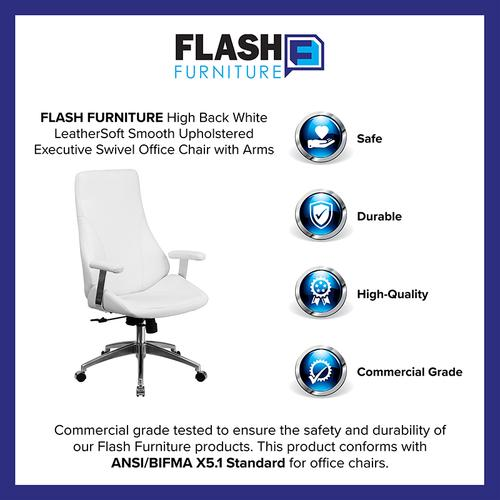 Gallery - High Back White LeatherSoft Smooth Upholstered Executive Swivel Office Chair with Arms