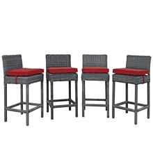 Summon Bar Stool Outdoor Patio Sunbrella® Set of 4 in Canvas Red