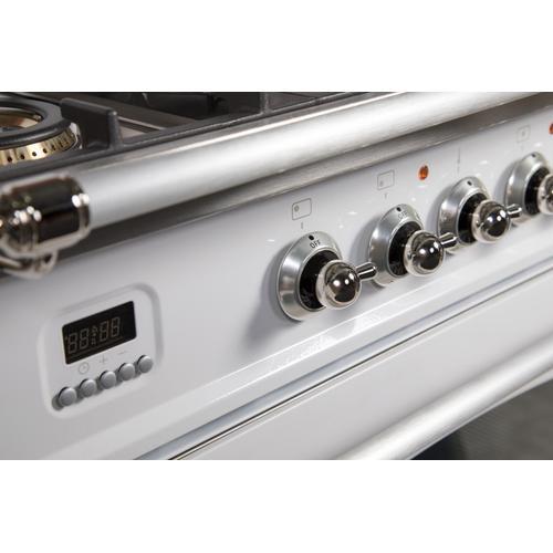 Nostalgie 36 Inch Gas Liquid Propane Freestanding Range in White with Chrome Trim