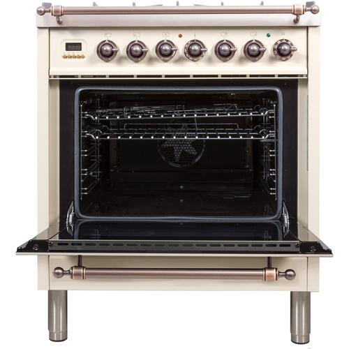 30 Inch Antique White Dual Fuel Natural Gas Freestanding Range