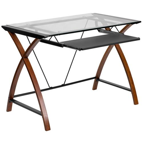 Flash Furniture - Glass Computer Desk with Pull-Out Keyboard Tray and Crisscross Frame