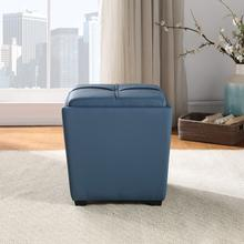 Rockford Storage Ottoman In Slate Blue Faux Leather