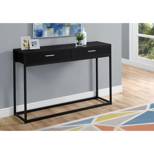 """ACCENT TABLE - 48""""L / BLACK / BLACK METAL HALL CONSOLE"""