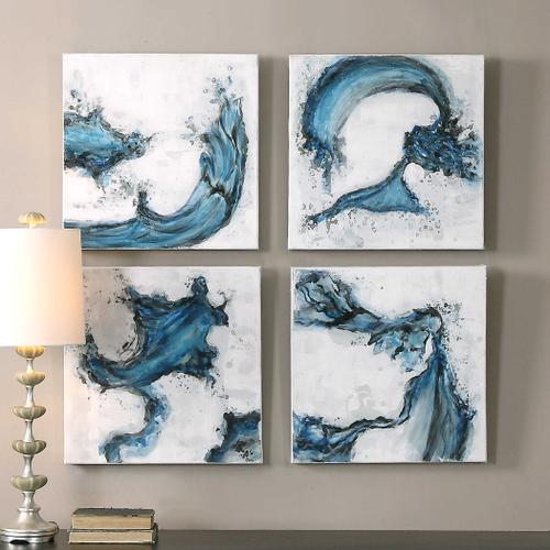 Uttermost - Swirls In Blue Hand Painted Canvases, S/4