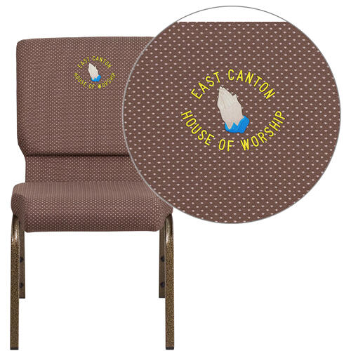 Embroidered HERCULES Series 18.5''W Brown Dot Fabric Stacking Church Chair with 4.25'' Thick Seat - Gold Vein Frame