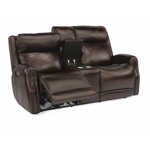 Flexsteel - Stanley Power Reclining Loveseat with Console and Power Headrests