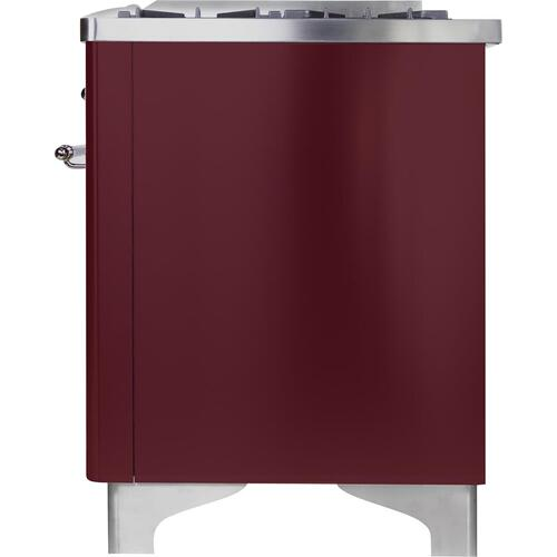 Gallery - Majestic II 36 Inch Dual Fuel Natural Gas Freestanding Range in Burgundy with Chrome Trim