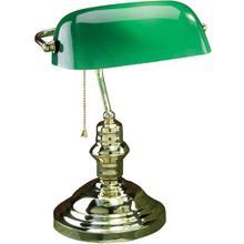 Banker's Lamp, Pb, Green Glass Shade, E27 Cfl 13w