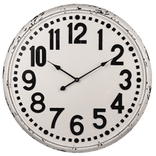 Distressed Black & White Wall Clock