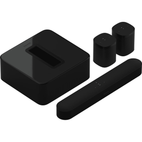 Black- A smart soundbar, subwoofer, and two rear speakers for TV, music, and more.