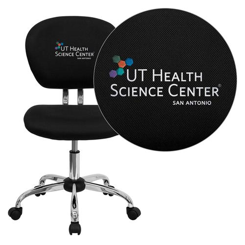 Texas Health Science Center San Antonio Embroidered Black Mesh Task Chair with Chrome Base