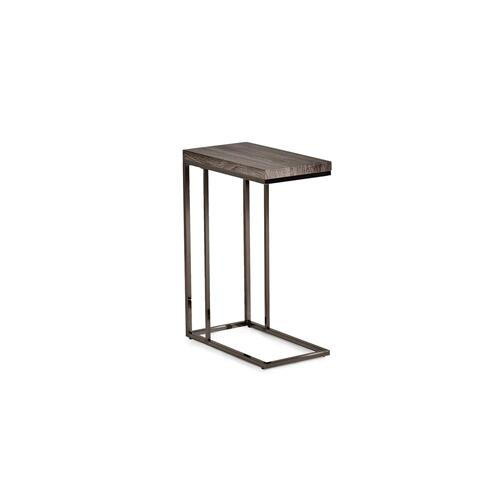 Lucia Chairside End Table, Gray/Black Nickel