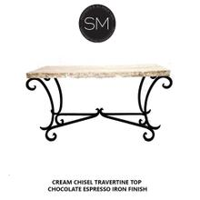 """See Details - Large Console- Sofa u0026Entry way table Travertine Top-1215C - 63""""X22"""" / Cream Chisel / Dark Rust Brown"""
