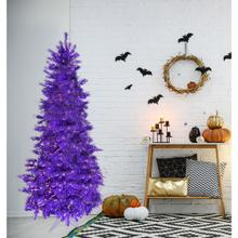 Fraser Hill Farm 5-Ft. Spooky Purple Tinsel Tree with Clear Incandescent Lighting, HH050TINTREE-1PUR
