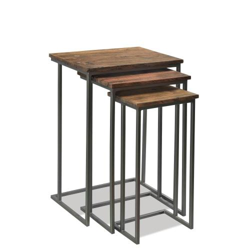 Nesting Side Tables - Patina Wood/black Metal Finish