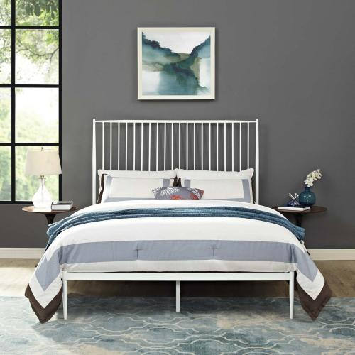 Annika Queen Platform Bed in White