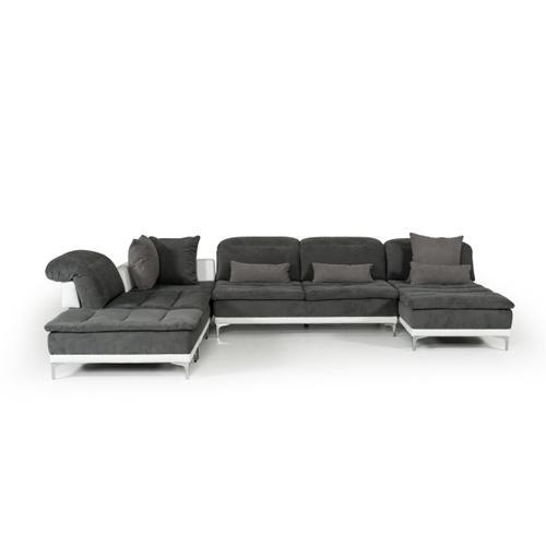 David Ferrari Horizon Modern Grey Fabric & Leather Sectional Sofa