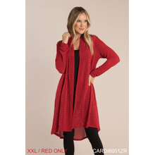 Studded Open Knit Cardigan - XXL Red (2 pc. ppk.)