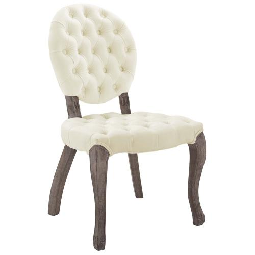 Modway - Exhibit French Vintage Dining Performance Velvet Side Chair in Ivory