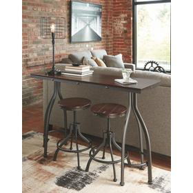 Odium Counter Height Table & 2 Bar Stools Brown