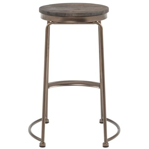 Alina 26'' Counter Stool, set of 4 in Copper/Elm Wood
