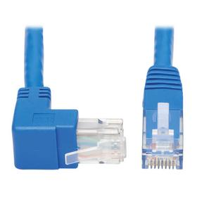 Up-Angle Cat6 Gigabit Molded UTP Ethernet Cable (RJ45 Right-Angle Up M to RJ45 M), Blue, 15 ft.