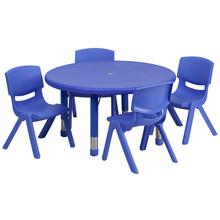 Product Image - 33'' Round Blue Plastic Height Adjustable Activity Table Set with 4 Chairs