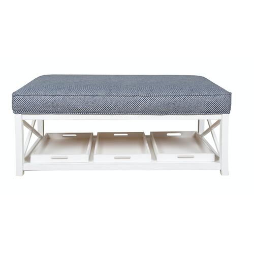 Cocktail Ottoman Available in Hampton White finish only.