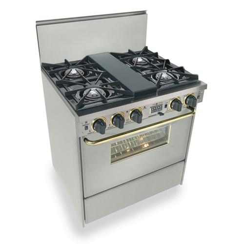 """Five Star - 30"""" Dual Fuel, Convect, Self Clean, Open Burners, Stainless Steel with Bras"""