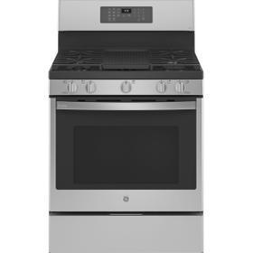 "GE Profile™ Smart 30"" Free-Standing Self Clean Gas Fingerprint Resistant Range with No Preheat Air Fry"