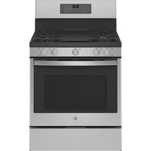 "GEGE Profile™ Smart 30"" Free-Standing Self Clean Gas Fingerprint Resistant Range with No Preheat Air Fry"