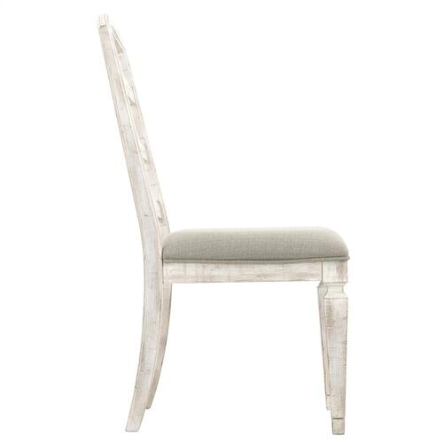 Riverside - Madison - Upholstered Ladderback Side Chair - Rustic White Finish
