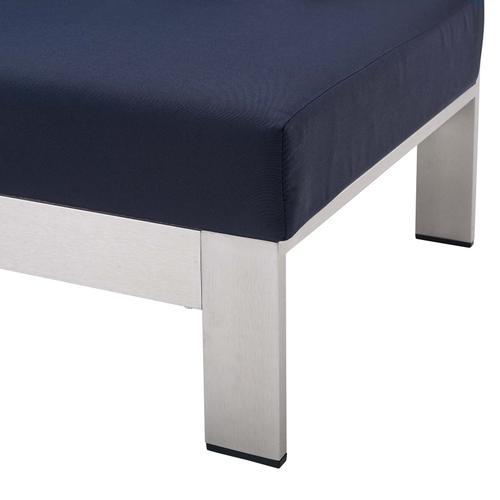 Shore Sunbrella® Fabric Aluminum Outdoor Patio Left-Arm Loveseat in Silver Navy