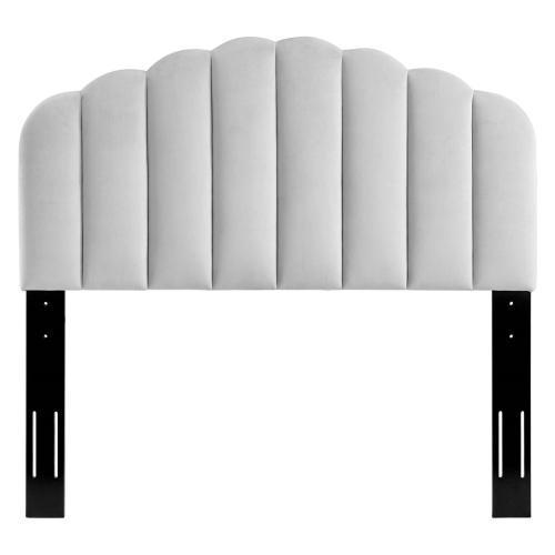 Veronique Full/Queen Performance Velvet Headboard in Light Gray