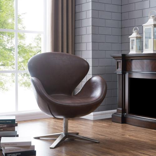 Product Image - Beckett PU Swivel Accent Chair Chrome Legs, Distressed Brown