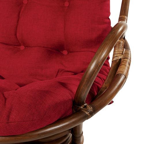 Kauai Rattan Swivel Rocker Chair In Red Fabric and Brown Frame