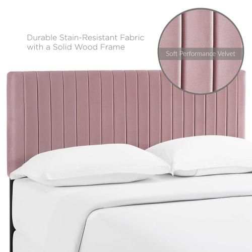 Keira King/California King Performance Velvet Headboard in Dusty Rose