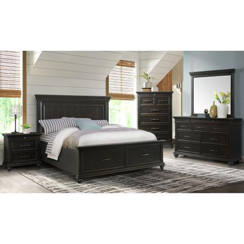 Slater King Platform Storage Bed in Black