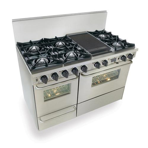 """Five Star - 48"""" Dual Fuel, Convect, Self Clean, Open Burners, Stainless Steel"""
