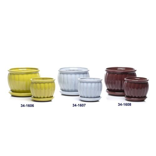 Manacle Petits Pots w/ attached saucer, Canary - Set of 2 (Min 4 sets)