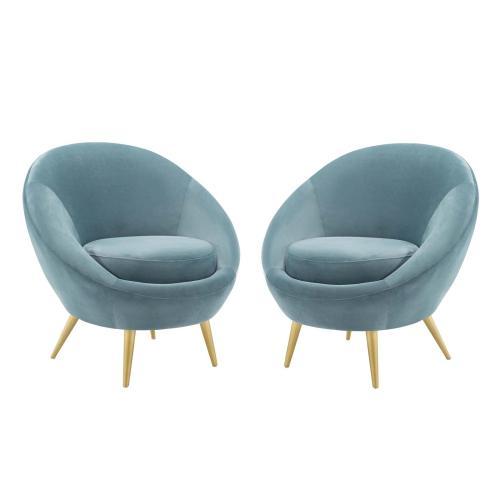 Circuit Accent Chair Performance Velvet Set of 2 in Light Blue